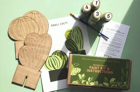 Paint-by-Number Wooden Plants