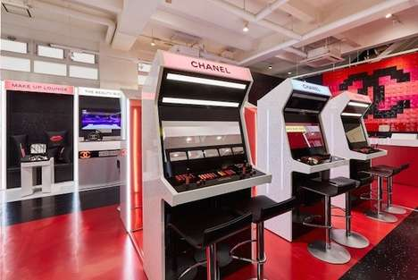 Cosmetic Brand Arcades - Chanel's 'Coco Game Center' in Tokyo Pairs Retro Games and Makeup Tables