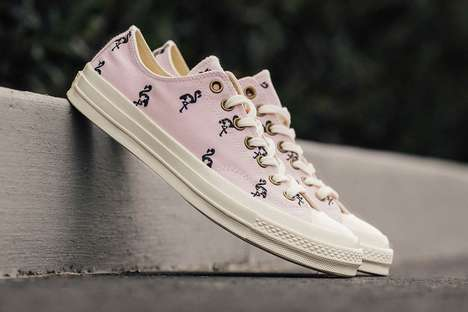 Pink Flamingo-Decorated Sneakers