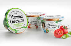 Vibrantly Rustic Cheese Packaging - The Papa & Mamma Cheesano Cottage Cheese is Retro and Charming