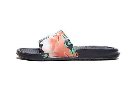 Floral-Stamped Slide Shoes