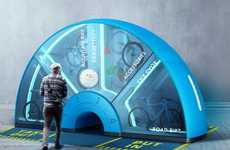 Arc-Shaped Bicycle Rental Kiosks
