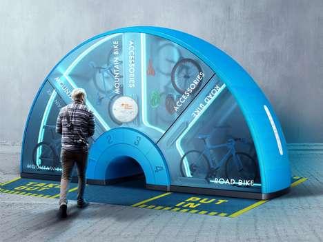 Arc-Shaped Bicycle Rental Kiosks