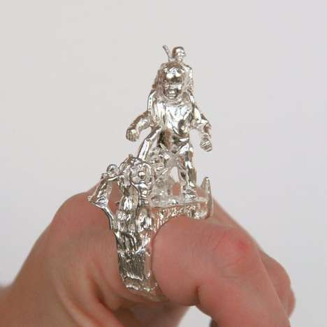 Culturally Iconographic Jewelry - The Designs of Rebecca Rose's Sculpted Rings are Highly Detailed