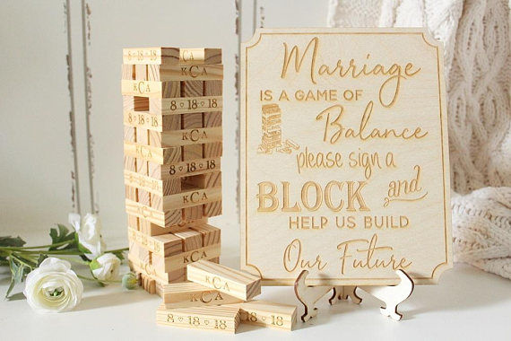 Wedding planning tips - guest book ideas - jenga guest book -  Wedding Soiree Blog by K'Mich, Philadelphia's premier resource for wedding planning and inspiration - down in the boondocks