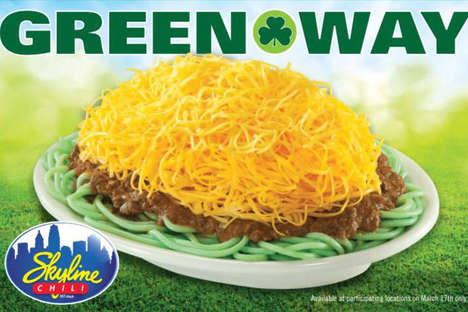 Shamrock-Hued Spaghetti Dinners - Skyline Has Debuted a Green Spaghetti Chili for St. Patrick's Day