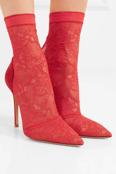 Luxe Lace Sock Boots - These New Gianvito Rossi Heeled Boots Boast a Form-Fitting Design
