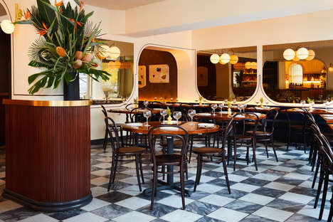 Classy Diner-Style Interiors - GRT Architects Install a Checkered Floor in Don Angie Restaurant