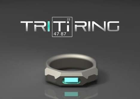 Masculine Biocompatible Jewelry - The 'TRITiRING' Titanium Ring Contains a Glowing Light Source