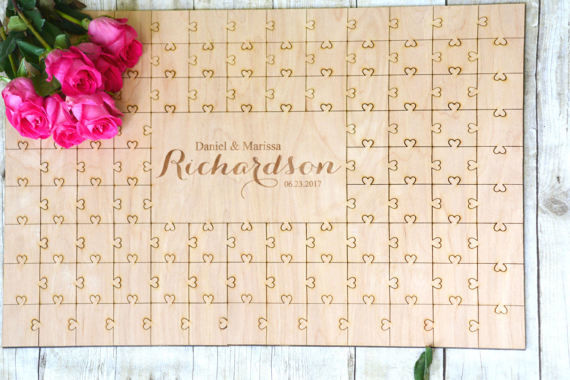 K'Mich Weddings - wedding planning - guest book ideas - puzzle like - Urban Farm House