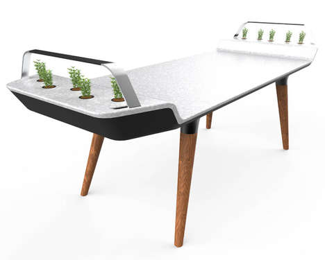 Greenery Incorporated Dining Tables - The 'Avia' Dining Table Puts Small Plants in an Unlikely Place