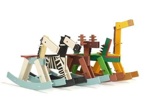 Geometric Wooden Rocking Animals