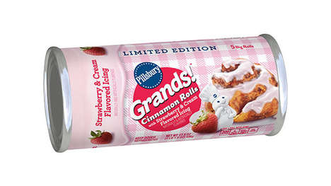 Fruity Spring-Inspired Pastries - Pillsbury Grands! Cinnamon Rolls with Strawberry & Cream are Tasty