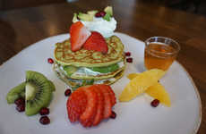 Avocado-Infused Pancakes - The Hass Bistro's Avocado Pancakes are Layered with Avocado Whipped Cream