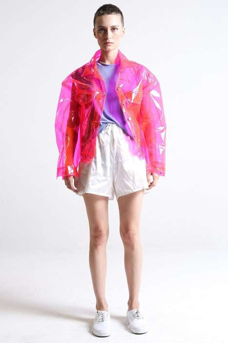 Bespoke PVC Outerwear - This Brashy Studios Crystalline Jacket is Vibrant and Made-to-Order