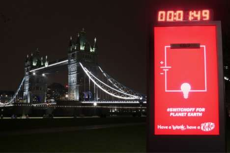 Environmentally Friendly Billboard Ads - This Kit Kat Billboard Ad Shut Off for Earth Hour