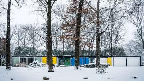 Hued Blocky Mid-Century Houses