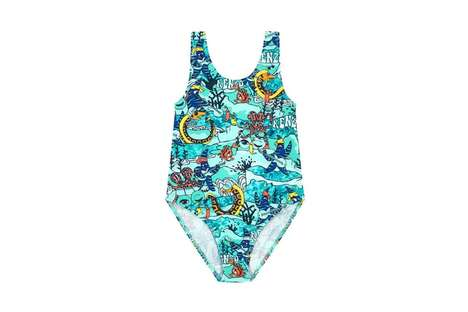 Ocean Print Youth Swimsuits