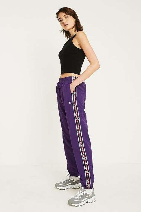 Violet Logo-Tape Pants