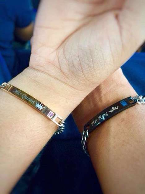 Engraved Titanium Couple's Bracelets - The 'His Queen, Her King' Bracelets Celebrate Romance