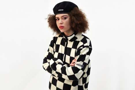Checkerboard Fleece Sweaters - Stussy's New Monochrome Fleece is Retro and Comfortable