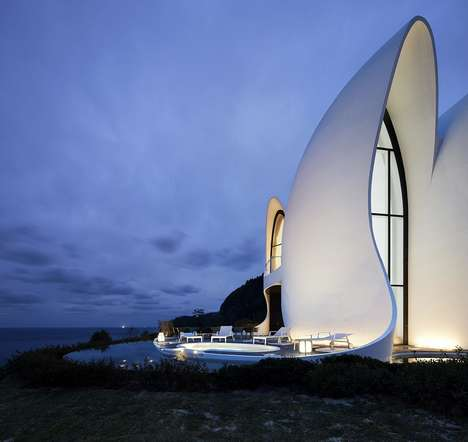 Modern Structural Concrete Hotels - The Healing Stay Kosmos Hotel Features a Sea Shell-Inspired Look