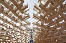 Ultra-Intricate Wooden Pavilions - Peter Pitcher's Construction is Comprised of 1,600 Wooden Beams