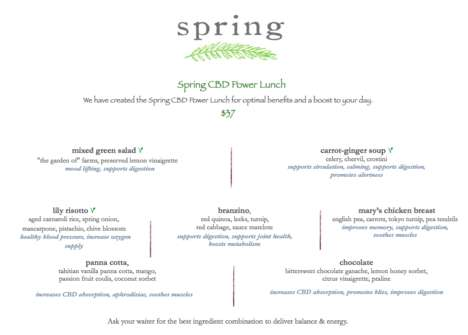 CBD-Infused Lunch Menus - LA's Spring Restaurant is Now Serving a 'CBD Power Lunch'