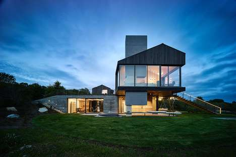 Scrubbed Oak Farm Houses - The Chilmark House Features a Modern Take on Classic New England Design