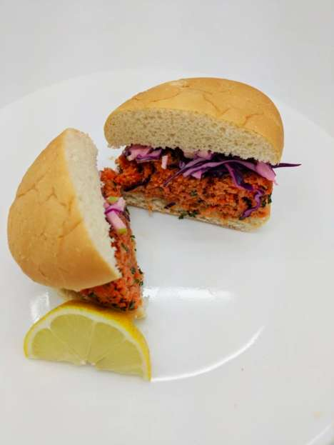Mock Salmon Burgers - Terramino Foods' Sustainable Burger is Made with Fungi and Algae