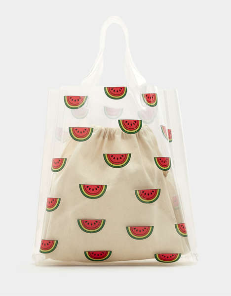 Fruit-Accented Transparent Totes - PULL & BEAR's Vinyl Watermelon Bag is a Beach-Ready Accent Piece