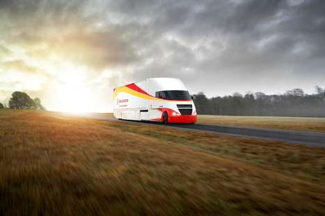Solar Panel-Topped Tractor Trailers - The Shell Starship Class 8 Truck Offers Great Fuel Savings