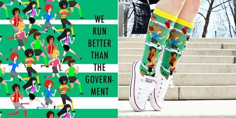 Whimsically Illustrated Compression Socks - POWWFUL's Power Socks are Graphic-Heavy and Empowering