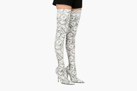 Thigh-High Money Boots - Balenciaga's Money Boots are Stamped with $1 and $5 Bills