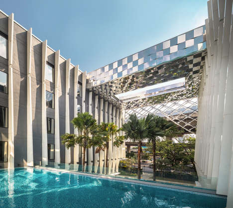 Shadowy Luxurious Thai Hotels - Plan Architect Breathed Life Into a Six-Storey Hotel in Bangkok