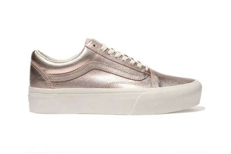 Monochrome Metallic Platform Sneakers