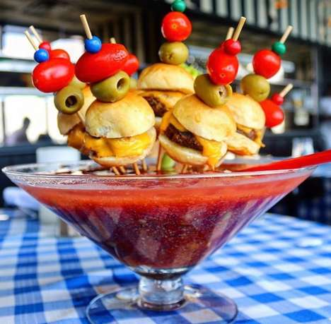 Cheeseburger-Garnished Cocktails - 'Not Your Ordinary Bloody Mary' Features Cheesy Sliders on Top