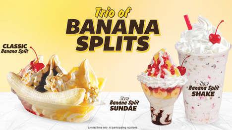 Creamy Banana Spilt Shakes