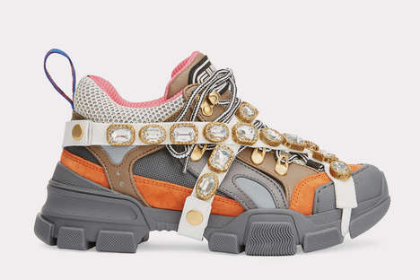 Chunky Bejeweled Sneakers - Gucci's SEGA Silhouette is Constructed with Mixed Materials
