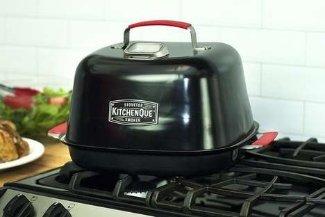 Stovetop Meat Smokers - The Charcoal Companion 'KitchenQue' Smokes Food in Your Kitchen