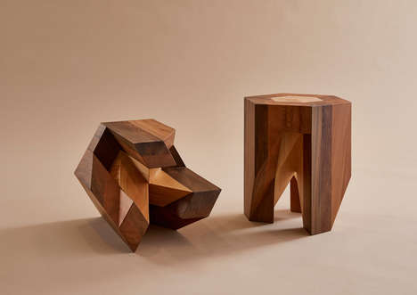Puzzle-Like Wooden Stools