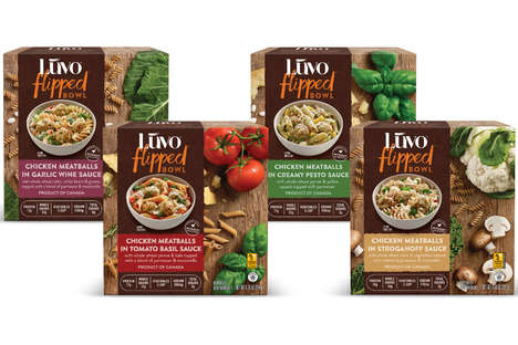 Natural Chicken Pasta Bowls - Luvo's Flipped Bowls Pair Whole Wheat Pasta & Antibiotic-Free Chicken