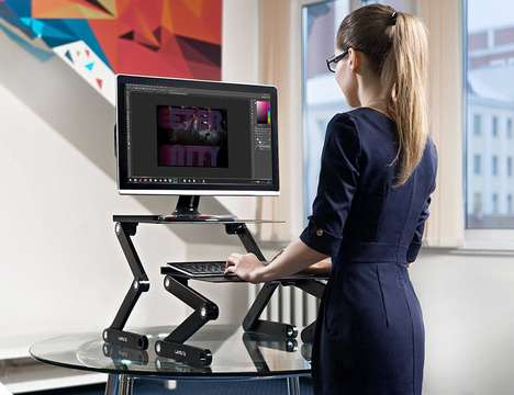 Adjustable Computer-Optimizing Stands - The Lavolta Portable Folding Laptop Table is Functional