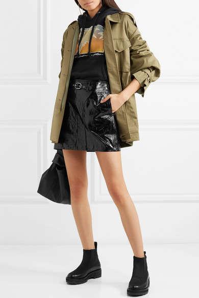 Textured Leather Mini Skirts