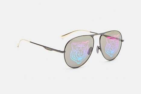 Iridescent Tiger-Motif Sunglasses