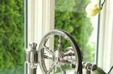 Luxurious Wheel Pulldown Faucets - Waterstone Faucets Offers a Sleek Ship-Inspired Product Design