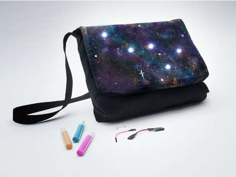 Galactic Accessory Design Kits - Kiwi Co's Constellation Messenger Bag Kit Includes Paint and LEDs