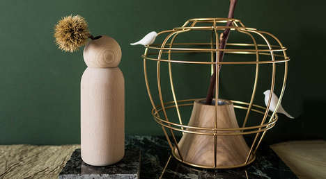 Puppetry-Inspired Wood Vases