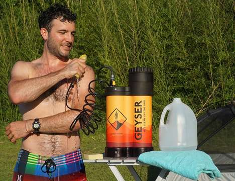 Heated Off-Grid Showers - The Geyser Portable Hot Shower System Lets You Comfortably Bathe Anywhere