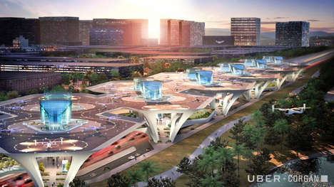Concept Air Taxi Hubs - The Uber Skyport Concepts Showcase How Its Taxis Will Land and Take Off